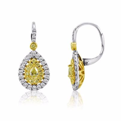 18kt Two Tone Diamond Earrings