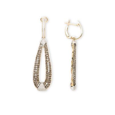 14kt Dangling Chocolate Diamond Earrings