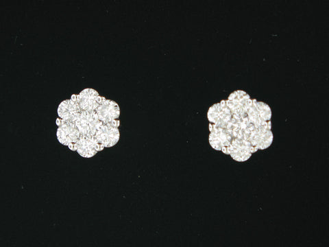 14KT. White Gold and Diamond Cluster Stud Earrings
