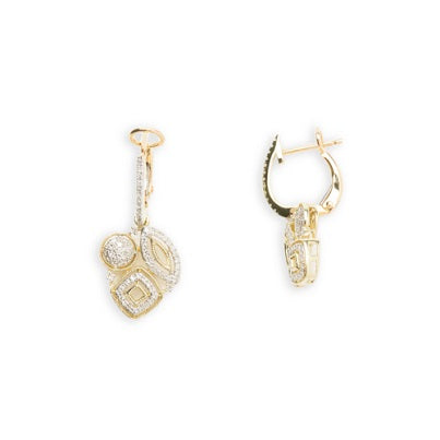 14kt Yellow Gold Diamond Dangling Earrings