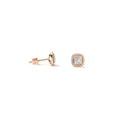14kt Rose and White Gold Diamond Cluster Earrings