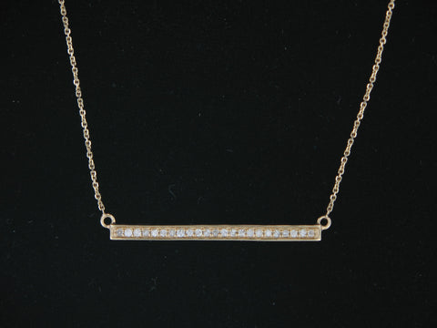 14KT. Yellow Gold and Diamond Bar Necklace