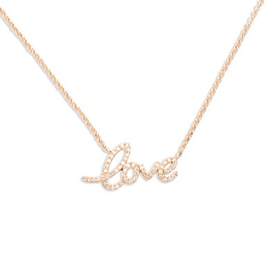 14kt Rose Gold Diamond Love Necklace