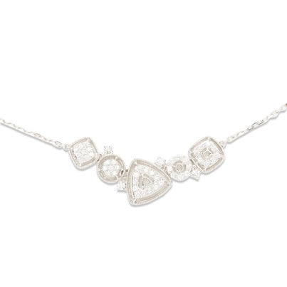 14kt White Gold Diamond Necklace with Various Shapes