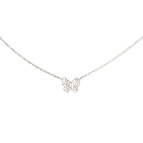 14kt White Gold Butterfly Necklace