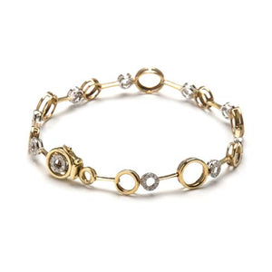 14kt Two Tone Diamond Circle Bracelet