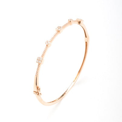 14kt Rose Gold Diamond Bangle Bracelet