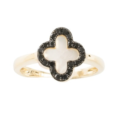Mother of Pearl and Black Diamond Ring