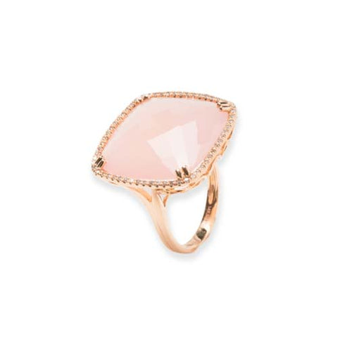 14kt Rose Gold Pink Quartz and Diamond Ring