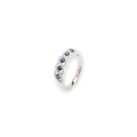 14kt White Gold Diamond and Five Sapphire Ring