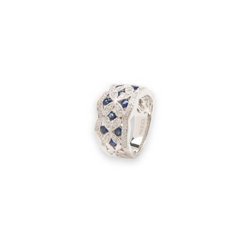14kt White Gold Diamond and Sapphire Ring