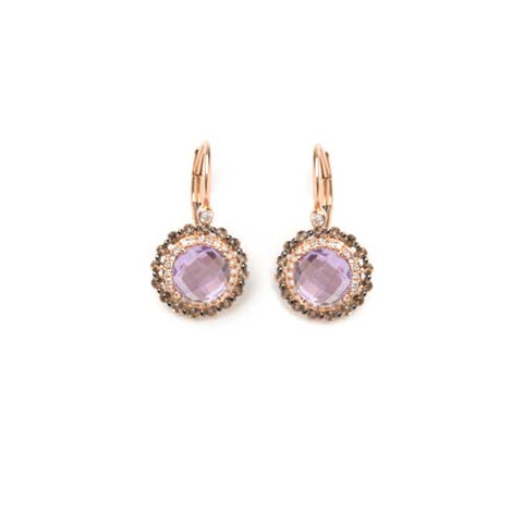 Rose Gold Amethyst and Smoky Topaz Earrings