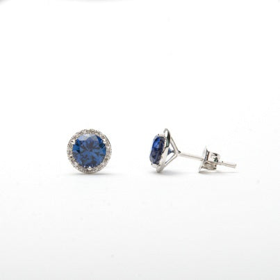 14kt Diamond and Created Sapphire Halo Earrings