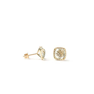 14kt Yellow Gold Green Amethyst and Diamond Earrings