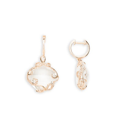 14kt Rose Gold Diamond and White Quartz Earrings