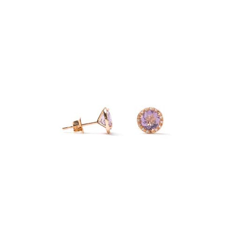 14kt Rose Gold Pink Amethyst and Diamond Earrings