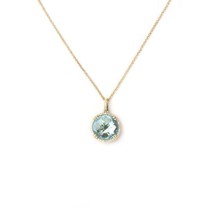 14kt Blue Topaz and Diamond Pendant