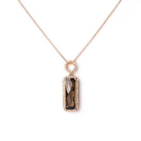 14kt Rose Gold Smokey Topaz and Diamond Pendant