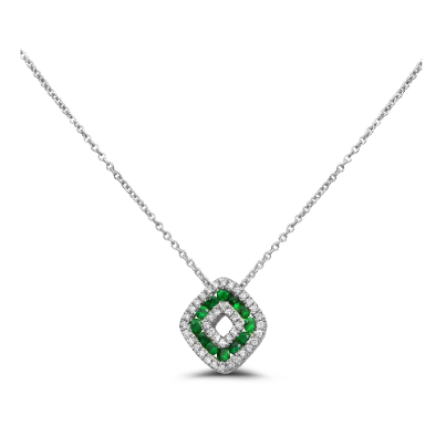 14KT. White Gold, Tsavorite and Diamond Pendant