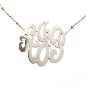 Large Sterling Silver  Monogram Necklace