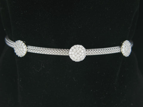 Sterling Silver Cuff Bracelet With Cubic Zirconia Cluster Design