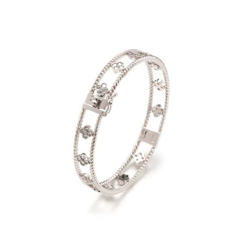 CZ and Sterling Silver Bangle Bracelet