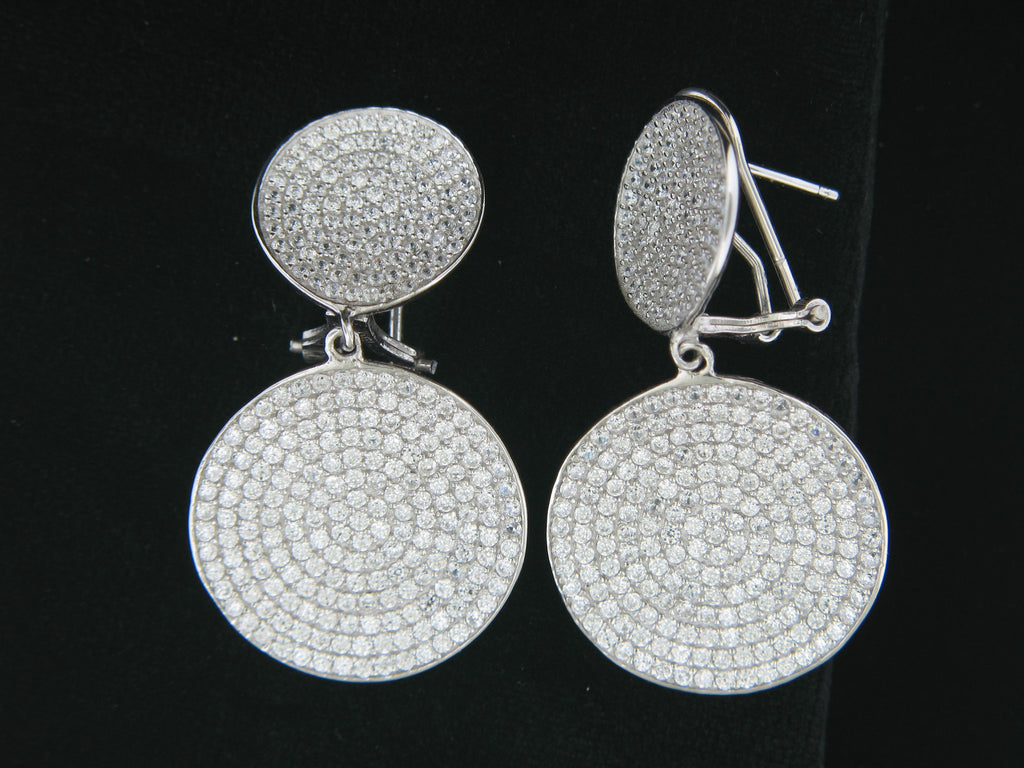 Sterling Silver Double Circle Pave CZ Earrings