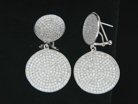 Sterling Silver Double Circle Pave Cubic Zirconia Earrings