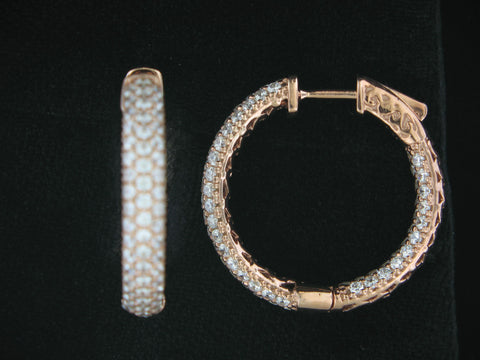 Sterling Silver Rose Gold Plated Inside/Outside Cubic Zirconia Hoops