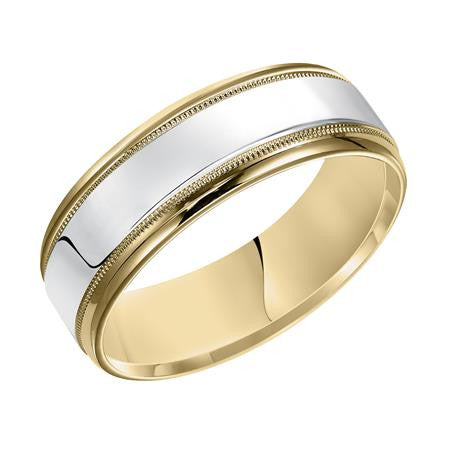 Two-tone Milgrain Wedding Band