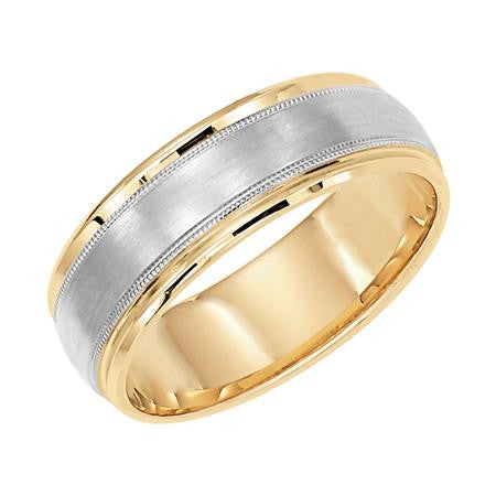 Two-Tone Brushed Milgrain Wedding Band