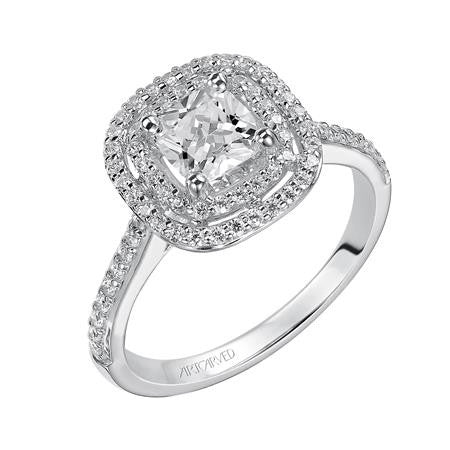14kt Cushion Cut Double Halo Engagement Ring Setting