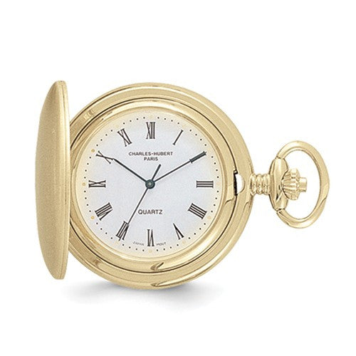 14k Gold Finish White Dial Pocket Watch