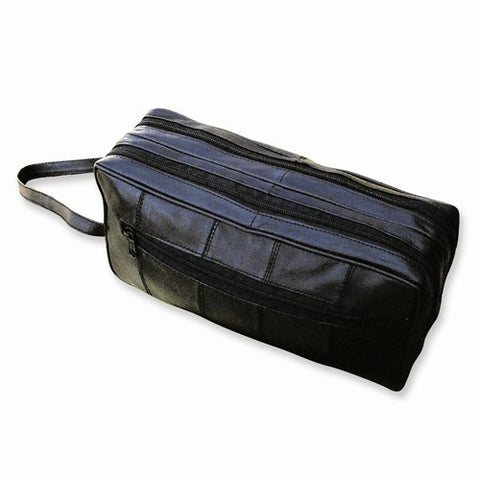 Black Lambskin Leather Double Zipper Travel Case