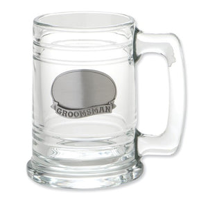Stainless Steel Engraveable Groomsman Plate Glass Tankard