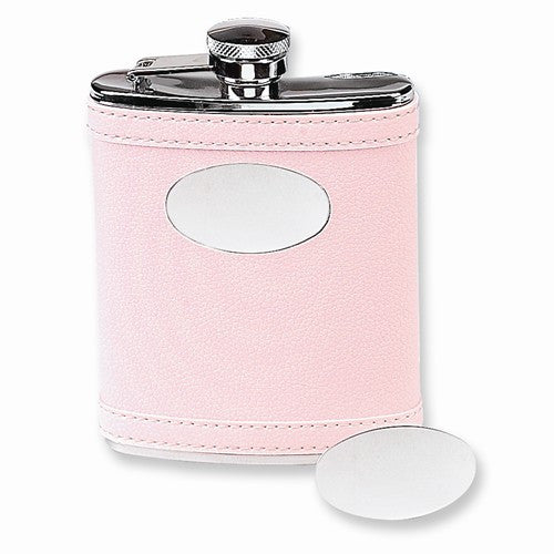 6 Oz. Stainless Steel Faux Leather Pink Flask