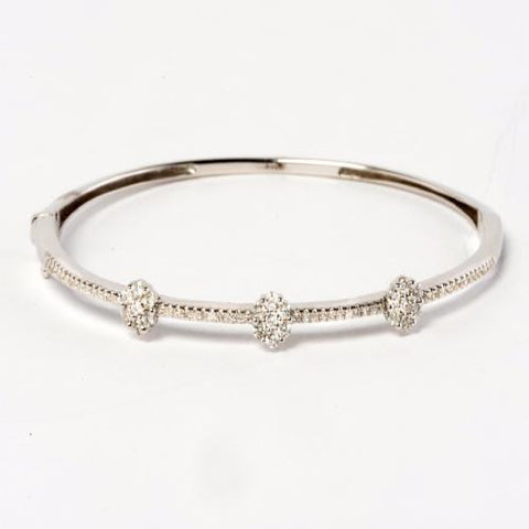 14KT White Gold Diamond Cluster Bangle