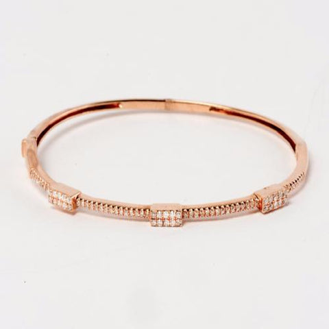 14KT Rose Gold Diamond Bangle