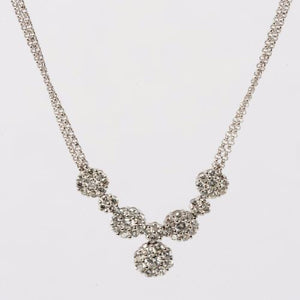14KT. White Gold and Diamond Multi-Cluster Necklace