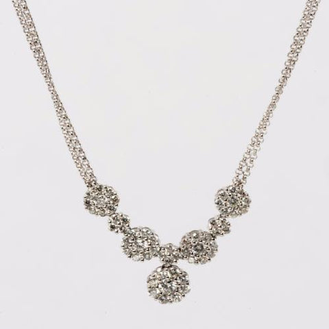 14KT White Gold Diamond Multi-Cluster Necklace