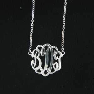 Ladies Sterling Silver Monogram Necklace