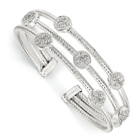 Sterling Silver and CZ Cuff Bracelet