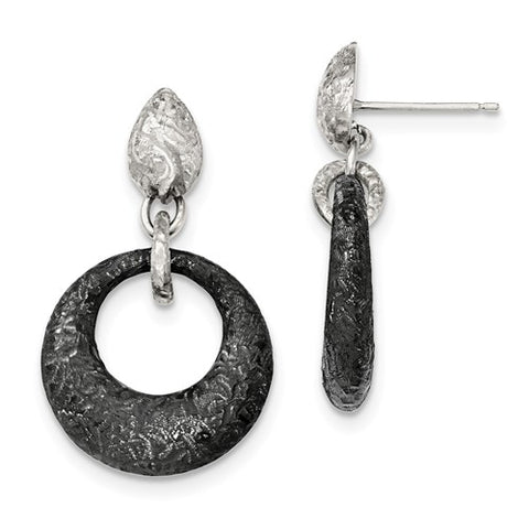 Sterling Silver and Black Rhodium Dangling Earrings