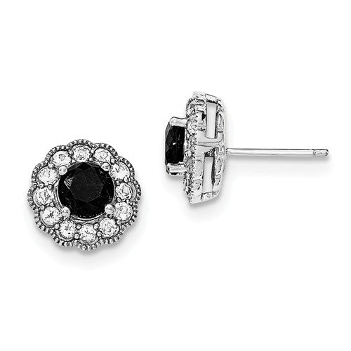 Black Sapphire and White Topaz Sterling Silver Earrings