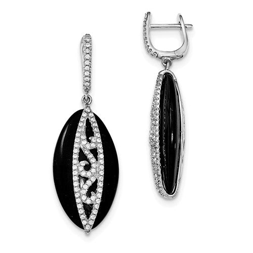 Sterling Silver, Black Onyx and CZ Earrings