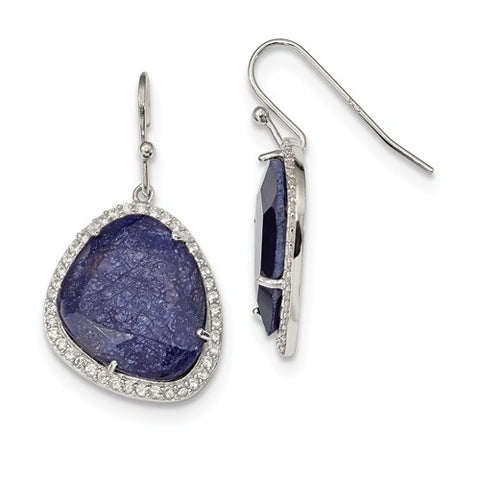 Sterling Silver, Blue Corundum And CZ Earrings