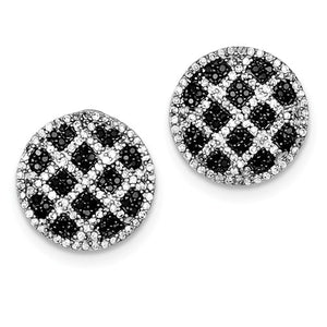 Sterling Silver and Black and White CZ Earrings
