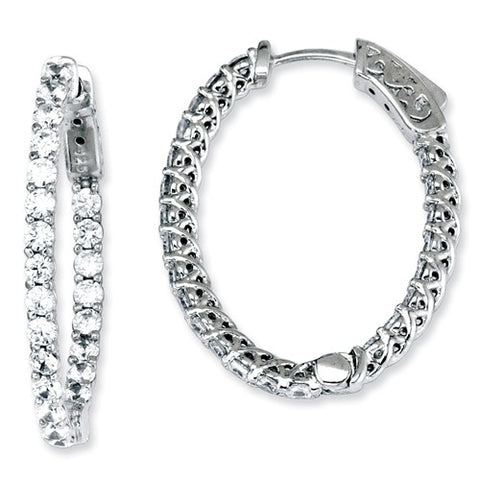 Sterling Silver Oval CZ Hoops