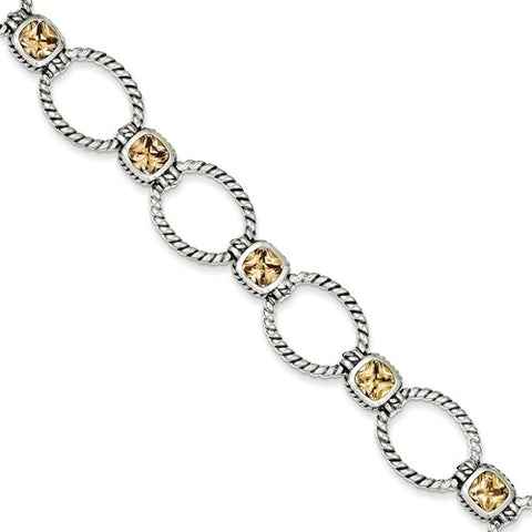 Sterling Silver and Champagne CZ Bracelet