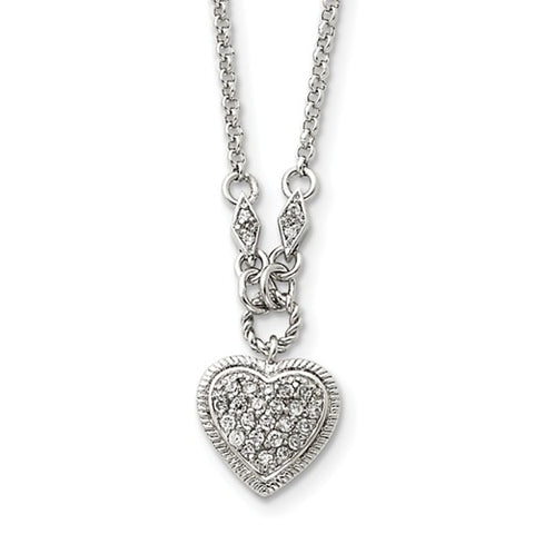 Sterling Silver and CZ Heart Necklace